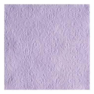Servetten paars met decoratie 3-laags 15 stuks