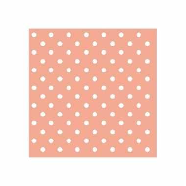 Servetten peach roze witte stippen 3-laags 20 stuks
