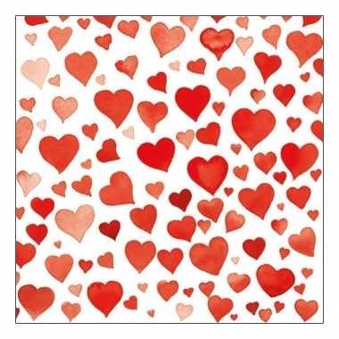 Servetten rode hartjes 20 stuks