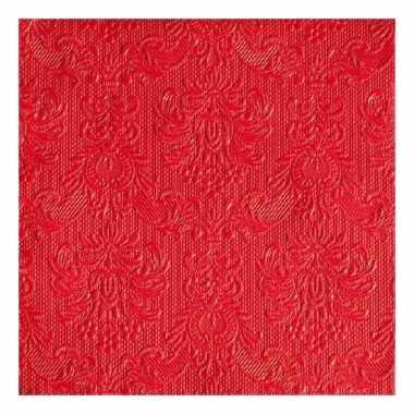 Servetten rood met decoratie 3-laags 15 stuks