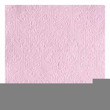 Servetten roze met decoratie 3-laags 15 stuks
