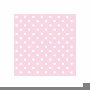 Servetten roze witte stippen 3-laags 20 stuks