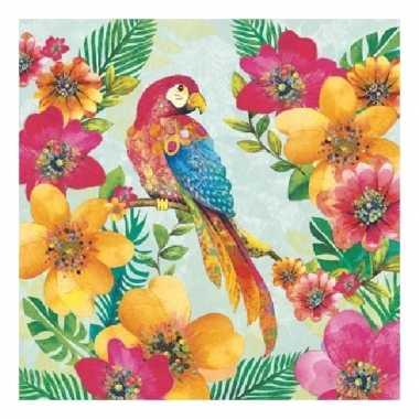Servetten tropische papegaai print 3 laags 20 stuks