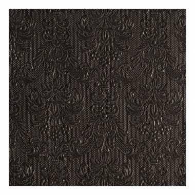 Servetten zwart met decoratie 3-laags 15 stuks