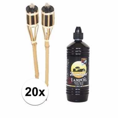 Set bamboe fakkels 20 stuks met fakkelolie 1 l