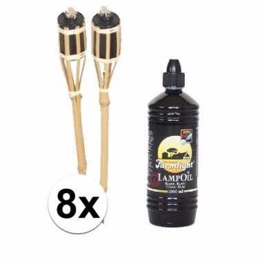 Set bamboe fakkels 8 stuks met fakkelolie 1 l