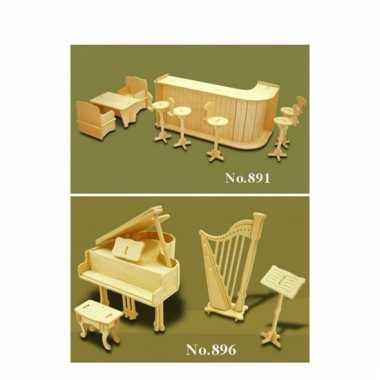 Set houten poppenhuis meubels bar en instrumenten