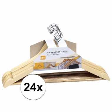 Set luxe kleding hangers van hout 24 stuks 44 cm