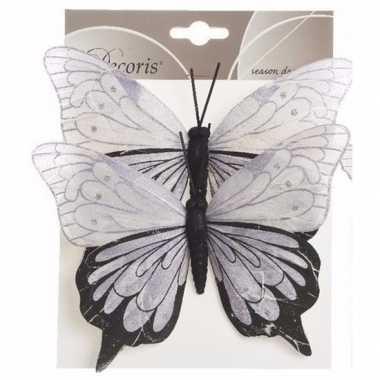 Set van 2 deco vlinders op ijzerdraad lila set 1