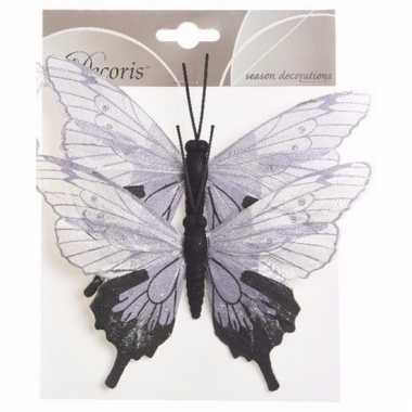 Set van 2 deco vlinders op ijzerdraad wit/lila set 2