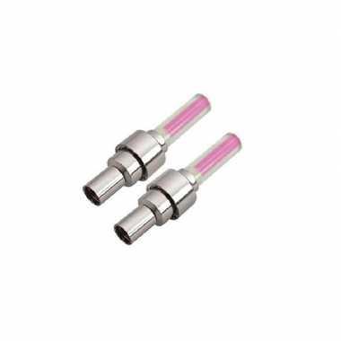 Set van 2 veiligheidslampjes roze incl. batterijen