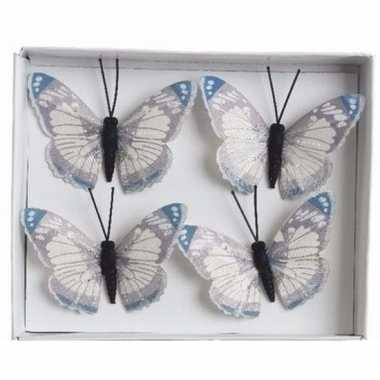 Set van 4 decoratie vlindertjes blauw/creme