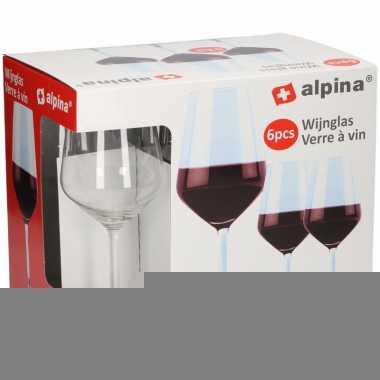 Set van 6 wijnglazen rood 530 cl