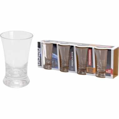 Set van vier herbruikbare plastic shotglazen