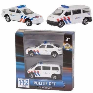 Setje van 2 speelgoed politiewagens