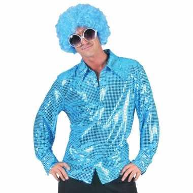 Seventies/eighties disco hemd blauwe pailletten voor heren