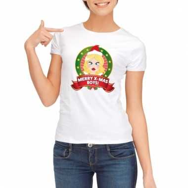 Sexy foute kerstmis shirt wit voor dames merry x-mas boys