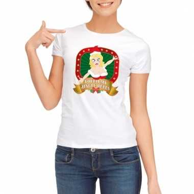 Sexy foute kerstmis shirt wit voor dames touch my jingle bells