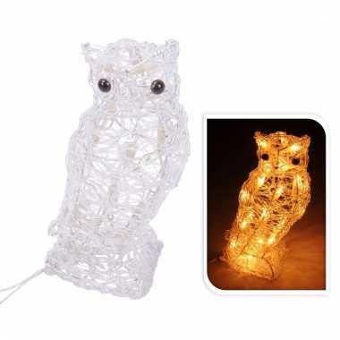 Sfeerverlichting uil met led lampjes op stekker 30 cm