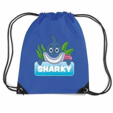 Sharky de haai trekkoord rugzak / gymtas blauw voor kinderen