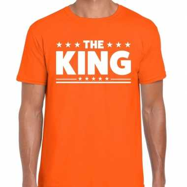 Shirt bedrukt met the king oranje heren