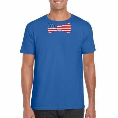 Shirt met amerika strikje blauw heren