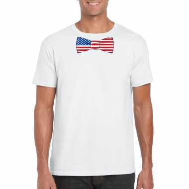 Shirt met amerika strikje wit heren