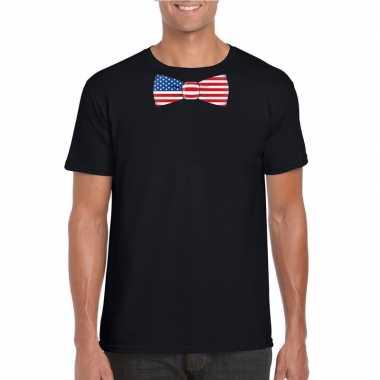 Shirt met amerika strikje zwart heren