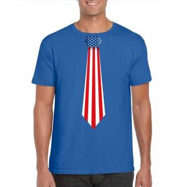 Shirt met amerika stropdas blauw heren