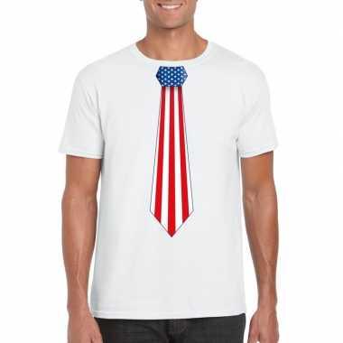 Shirt met amerika stropdas wit heren
