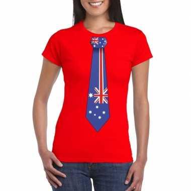 Shirt met australie stropdas rood dames