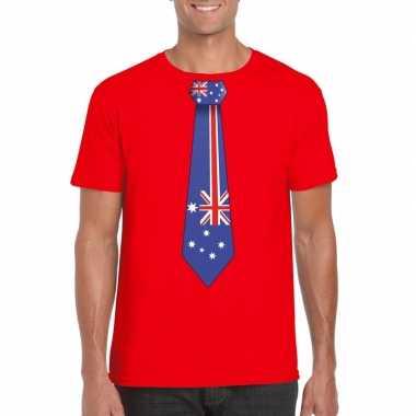 Shirt met australie stropdas rood heren