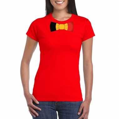 Shirt met belgie strikje rood dames