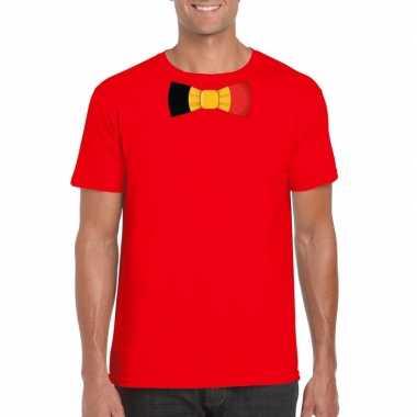 Shirt met belgie strikje rood heren
