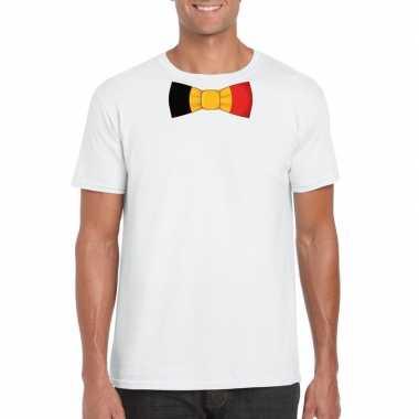 Shirt met belgie strikje wit heren