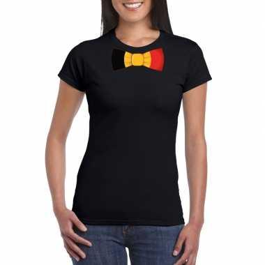 Shirt met belgie strikje zwart dames