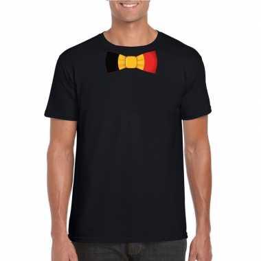 Shirt met belgie strikje zwart heren