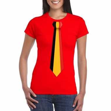 Shirt met belgie stropdas rood dames