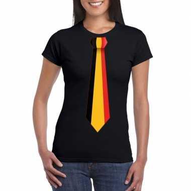 Shirt met belgie stropdas zwart dames