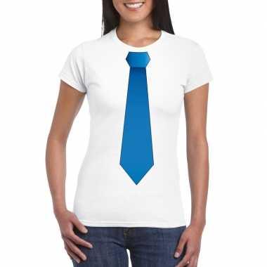 Shirt met blauwe stropdas wit dames