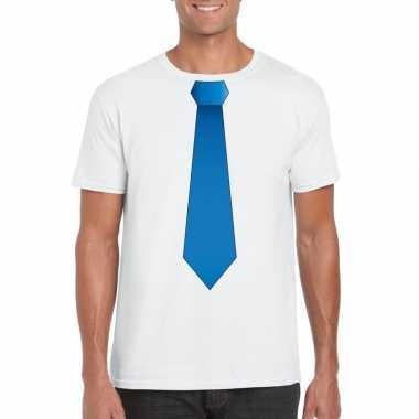 Shirt met blauwe stropdas wit heren