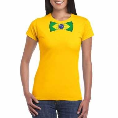 Shirt met brazilie strikje geel dames