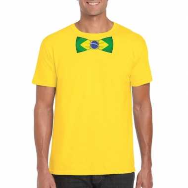 Shirt met brazilie strikje geel heren