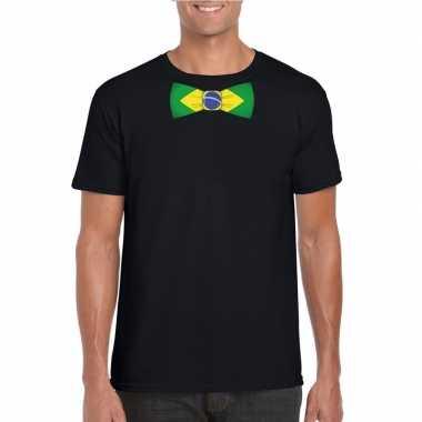 Shirt met brazilie strikje zwart heren