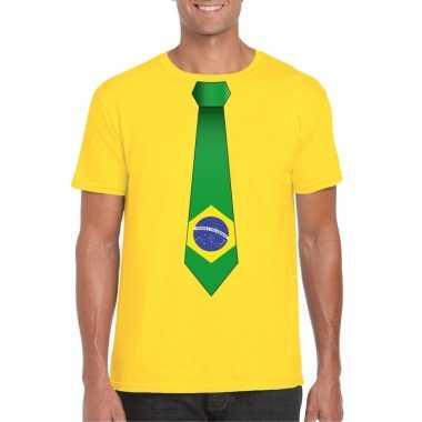 Shirt met brazilie stropdas geel heren