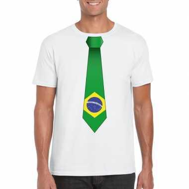 Shirt met brazilie stropdas wit heren