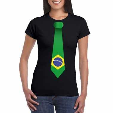 Shirt met brazilie stropdas zwart dames