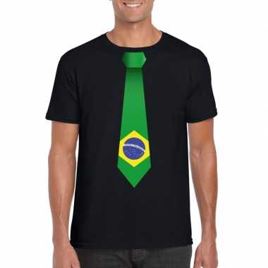 Shirt met brazilie stropdas zwart heren
