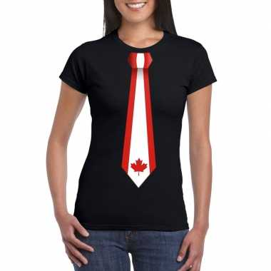 Shirt met canada stropdas zwart dames