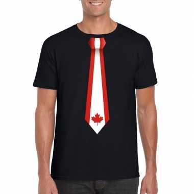 Shirt met canada stropdas zwart heren